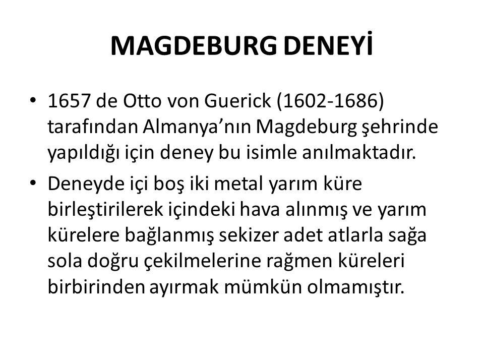 MAGDEBURG DENEYİ 1657 de Otto von Guerick (1602-1686) tarafından Almanya'nın Magdeburg şehrinde yapıldığı için deney bu isimle anılmaktadır.