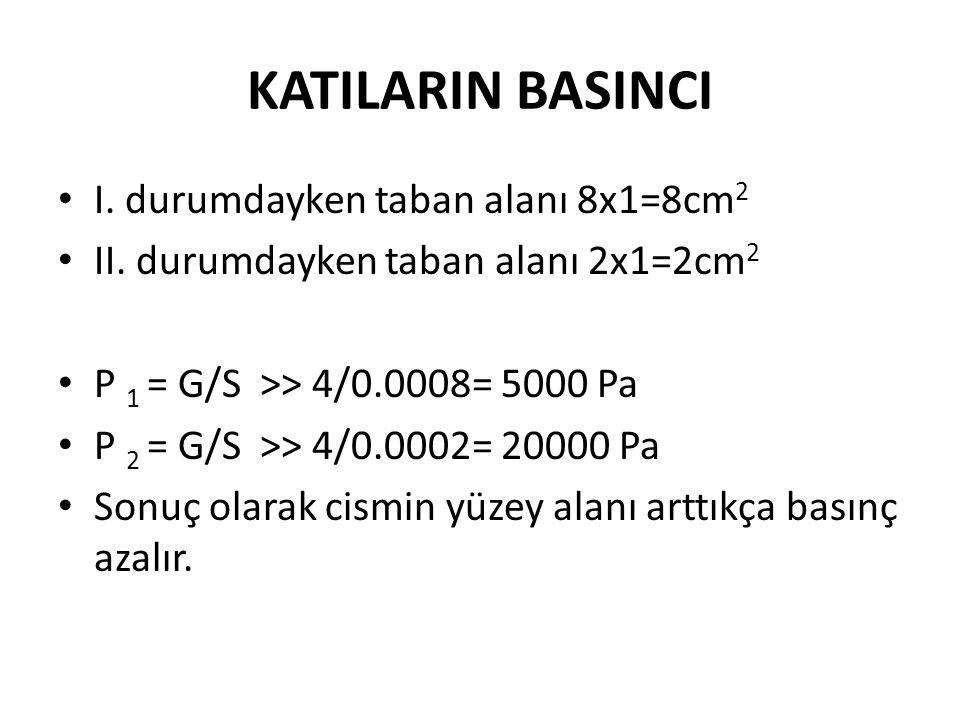 KATILARIN BASINCI I. durumdayken taban alanı 8x1=8cm2