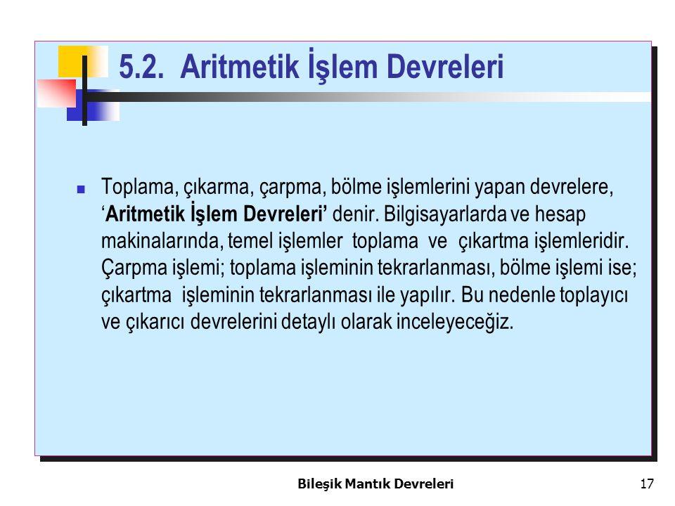 5.2. Aritmetik İşlem Devreleri
