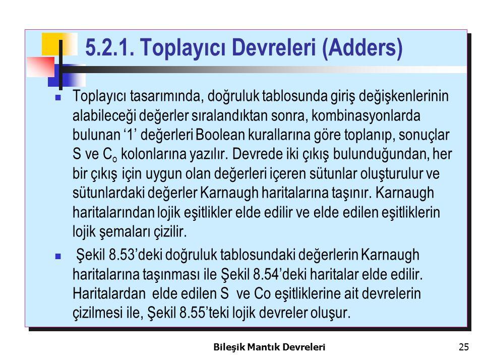5.2.1. Toplayıcı Devreleri (Adders)