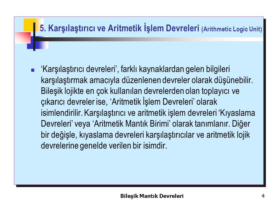 5. Karşılaştırıcı ve Aritmetik İşlem Devreleri (Arithmetic Logic Unit)