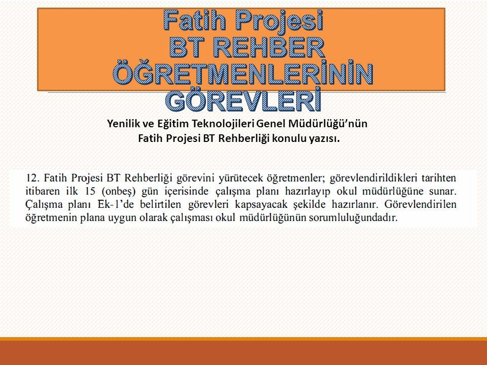 Fatih Projesi BT REHBER ÖĞRETMENLERİNİN GÖREVLERİ