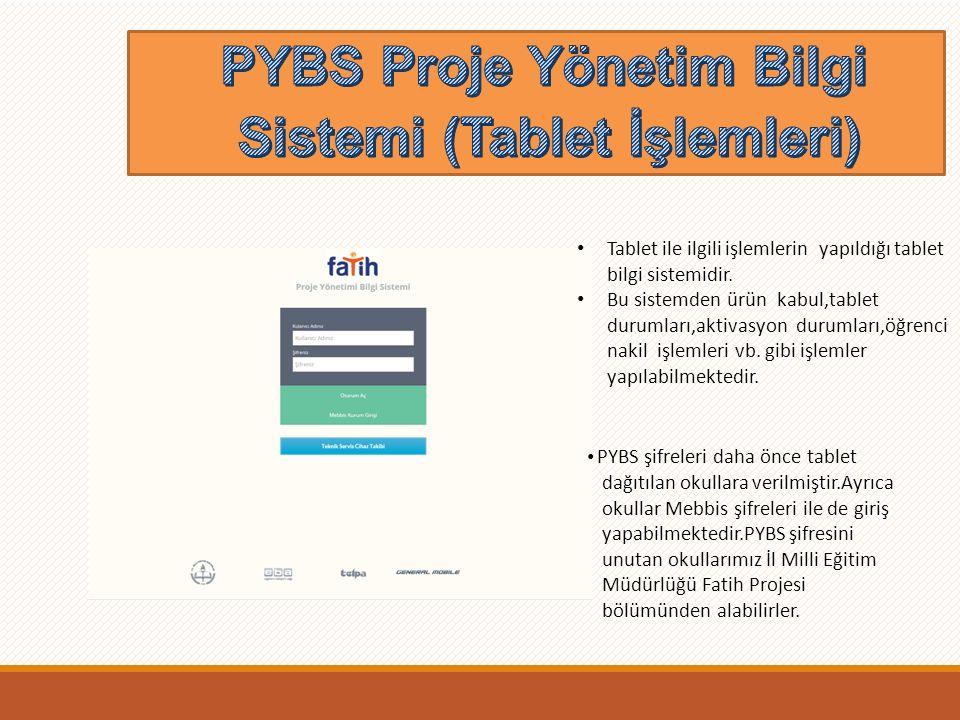 PYBS Proje Yönetim Bilgi Sistemi (Tablet İşlemleri)