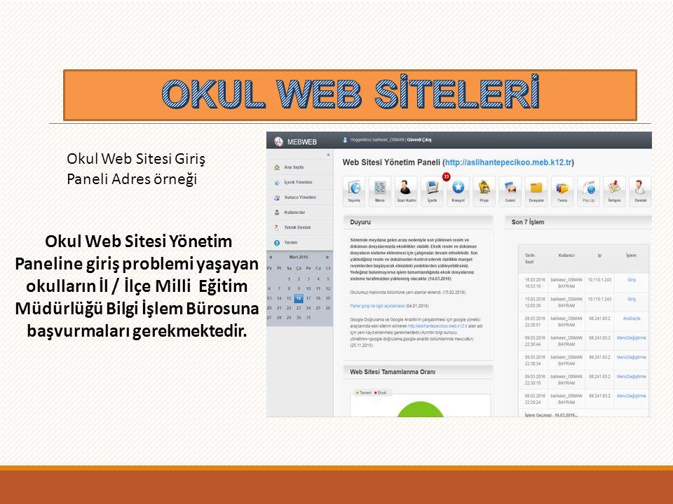 OKUL WEB SİTELERİ Okul Web Sitesi Giriş. Paneli Adres örneği.