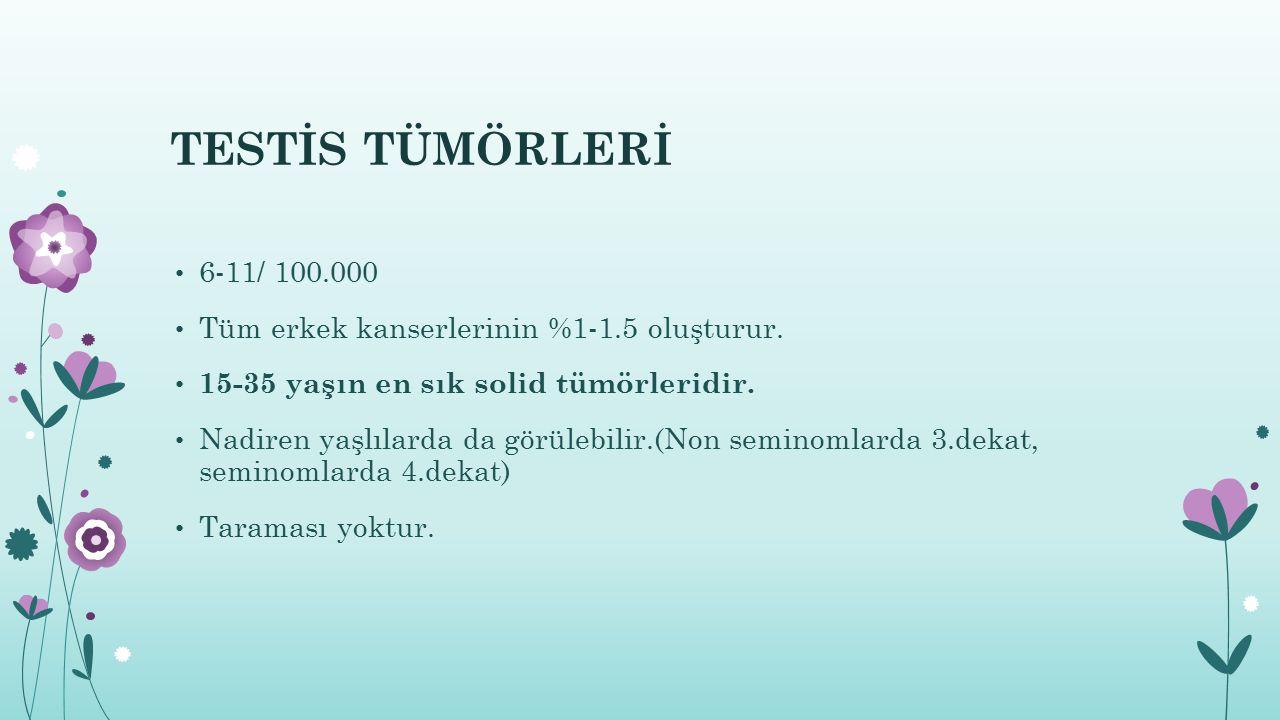 TESTİS TÜMÖRLERİ 6-11/ 100.000. Tüm erkek kanserlerinin %1-1.5 oluşturur. 15-35 yaşın en sık solid tümörleridir.