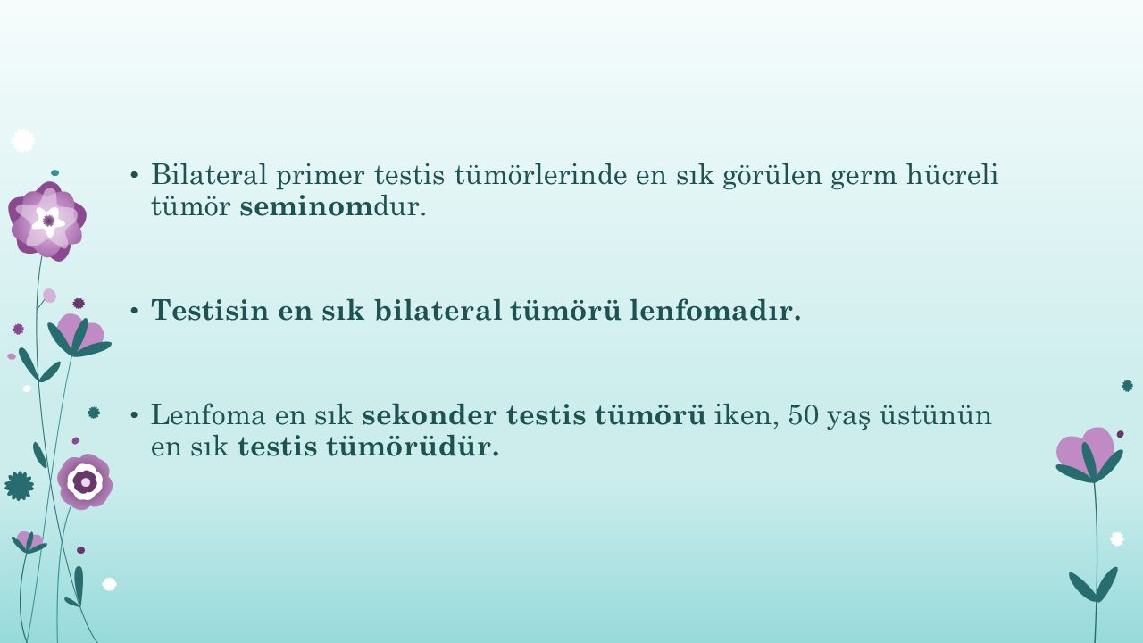 Bilateral primer testis tümörlerinde en sık görülen germ hücreli tümör seminomdur.