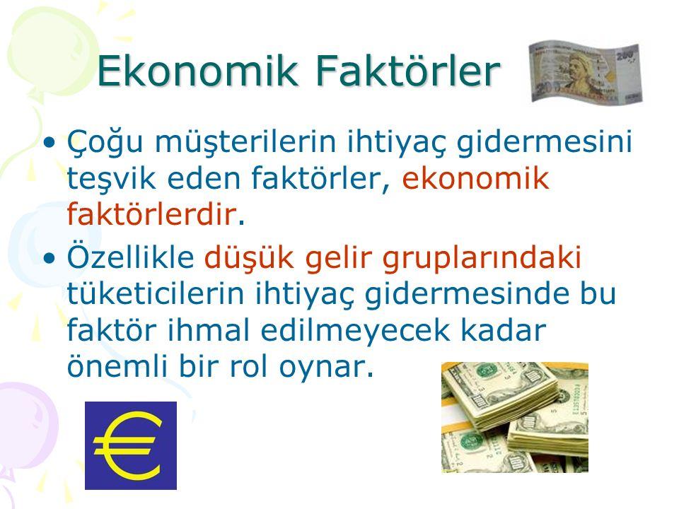 Ekonomik Faktörler Çoğu müşterilerin ihtiyaç gidermesini teşvik eden faktörler, ekonomik faktörlerdir.
