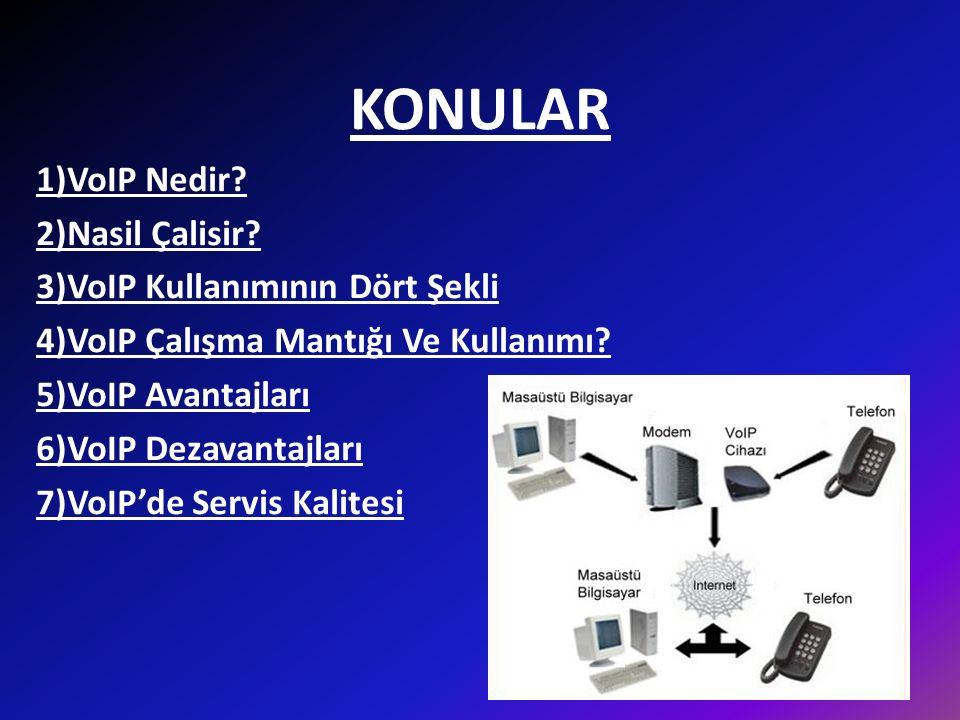 KONULAR 1)VoIP Nedir 2)Nasil Çalisir 3)VoIP Kullanımının Dört Şekli