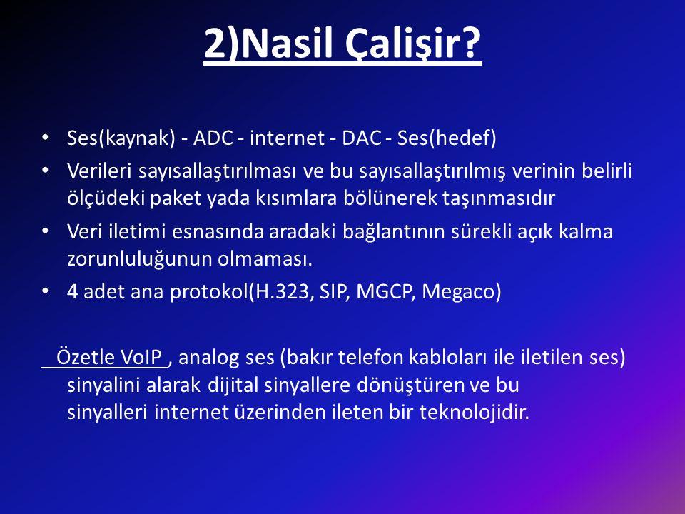 2)Nasil Çalişir Ses(kaynak) - ADC - internet - DAC - Ses(hedef)
