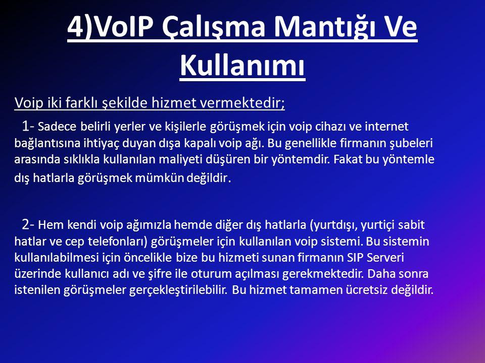 4)VoIP Çalışma Mantığı Ve Kullanımı