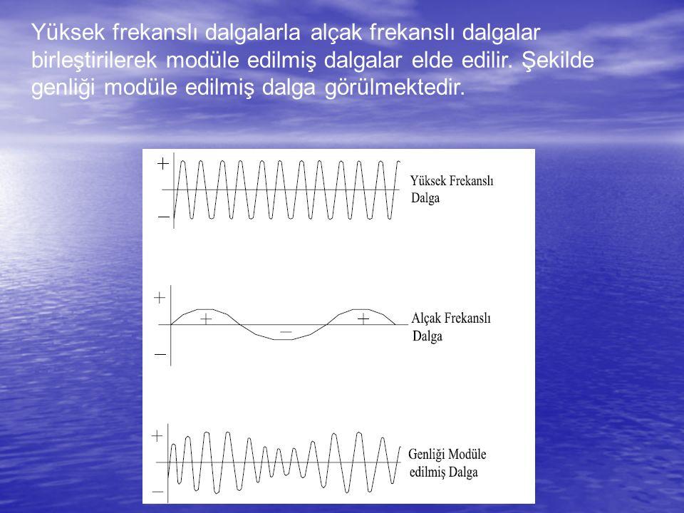 Yüksek frekanslı dalgalarla alçak frekanslı dalgalar birleştirilerek modüle edilmiş dalgalar elde edilir.