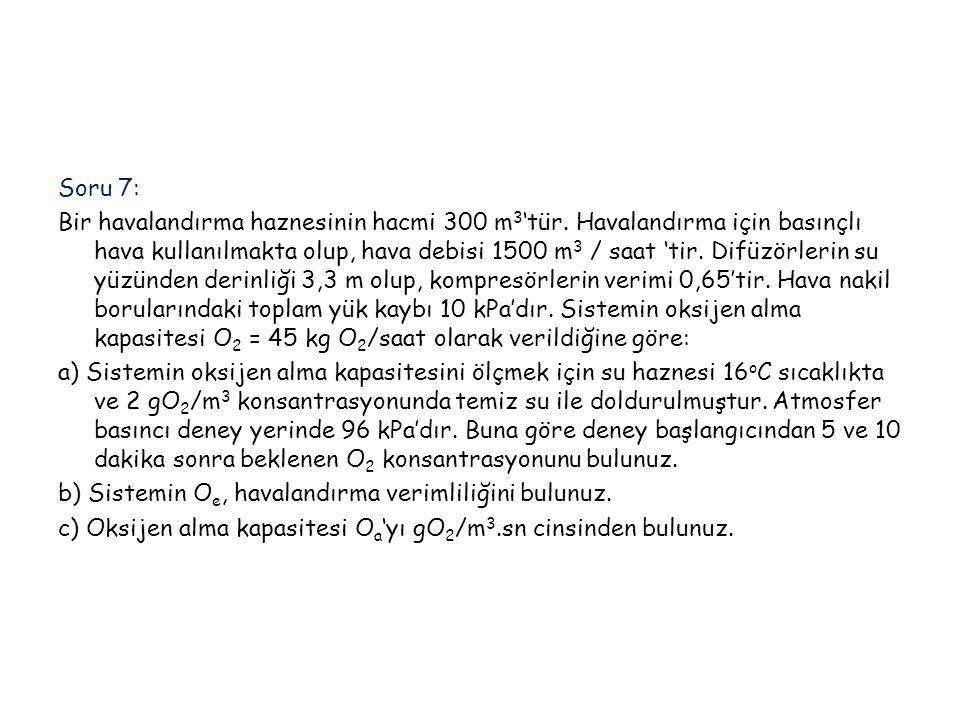 Soru 7: Bir havalandırma haznesinin hacmi 300 m3'tür