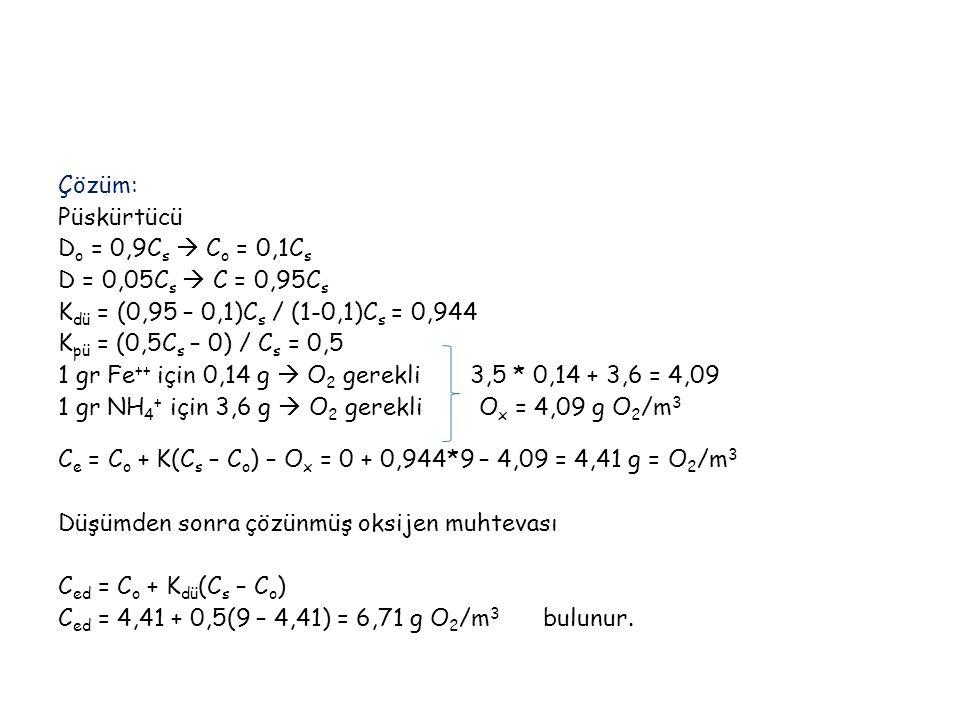 Çözüm: Püskürtücü Do = 0,9Cs  Co = 0,1Cs D = 0,05Cs  C = 0,95Cs Kdü = (0,95 – 0,1)Cs / (1-0,1)Cs = 0,944 Kpü = (0,5Cs – 0) / Cs = 0,5 1 gr Fe++ için 0,14 g  O2 gerekli 3,5 * 0,14 + 3,6 = 4,09 1 gr NH4+ için 3,6 g  O2 gerekli Ox = 4,09 g O2/m3 Ce = Co + K(Cs – Co) – Ox = 0 + 0,944*9 – 4,09 = 4,41 g = O2/m3 Düşümden sonra çözünmüş oksijen muhtevası Ced = Co + Kdü(Cs – Co) Ced = 4,41 + 0,5(9 – 4,41) = 6,71 g O2/m3 bulunur.