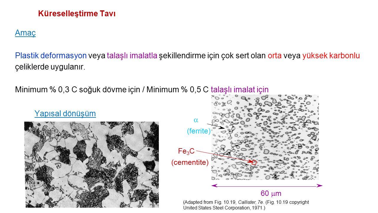 Minimum % 0,3 C soğuk dövme için / Minimum % 0,5 C talaşlı imalat için