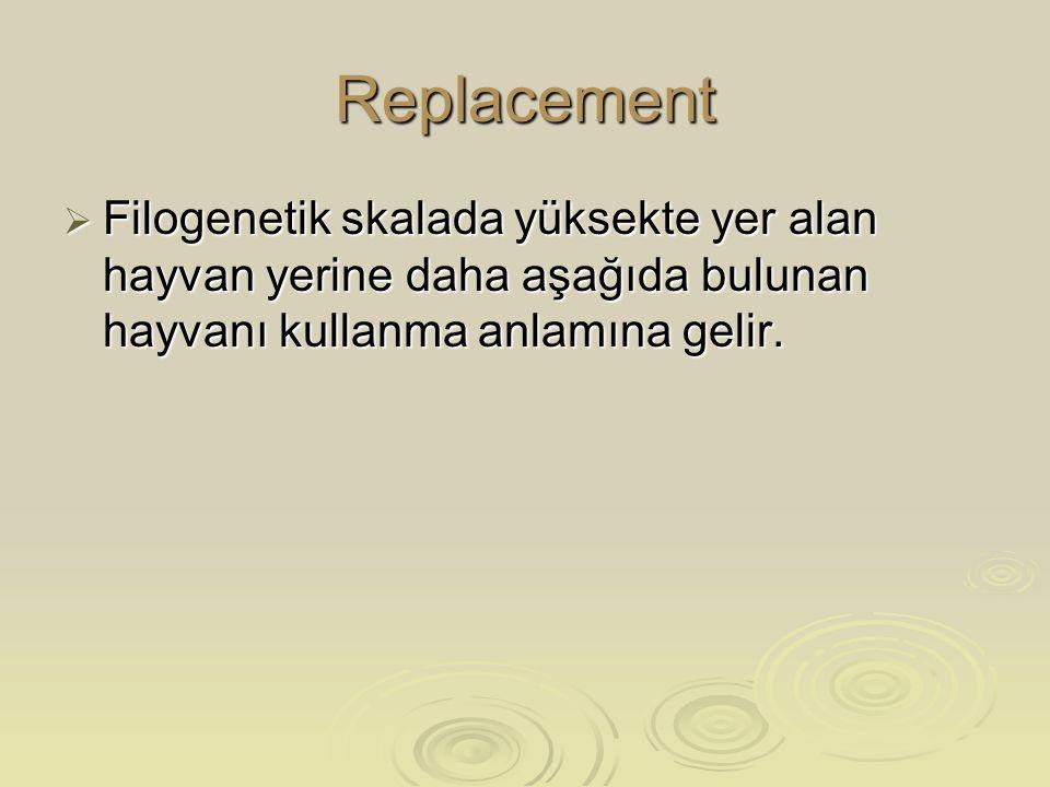 Replacement Filogenetik skalada yüksekte yer alan hayvan yerine daha aşağıda bulunan hayvanı kullanma anlamına gelir.