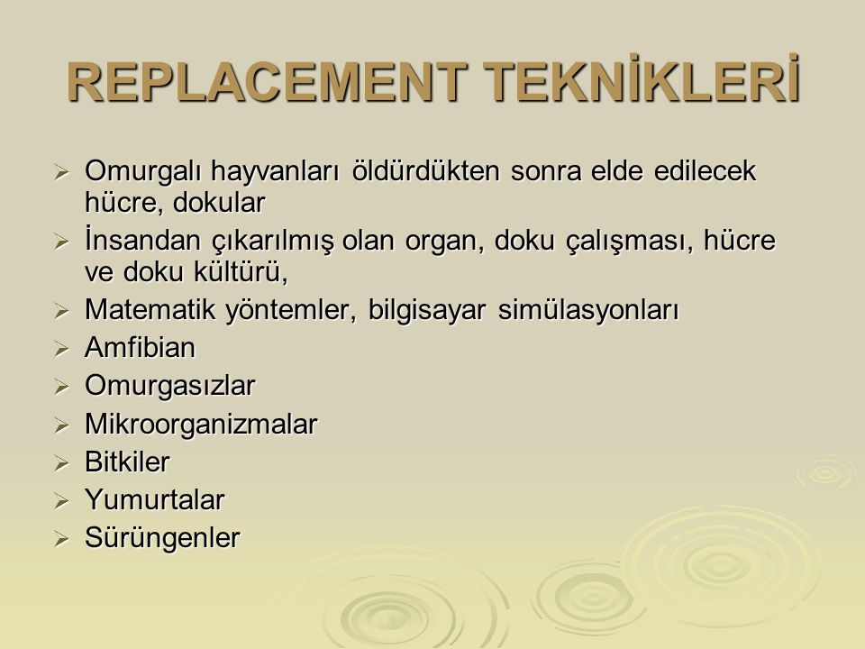 REPLACEMENT TEKNİKLERİ