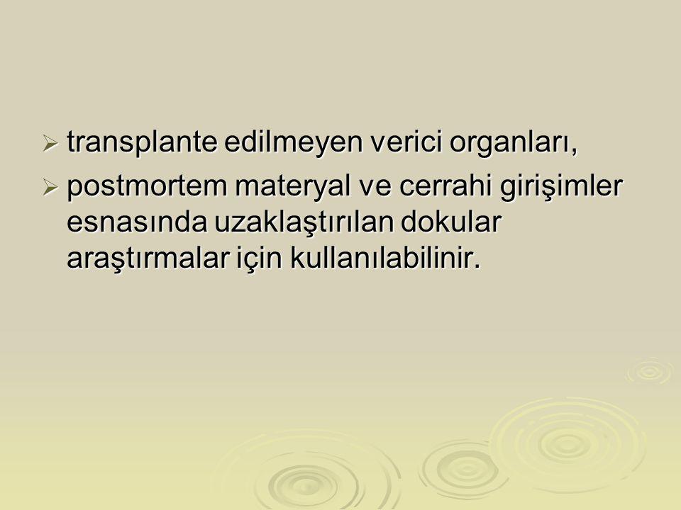 transplante edilmeyen verici organları,