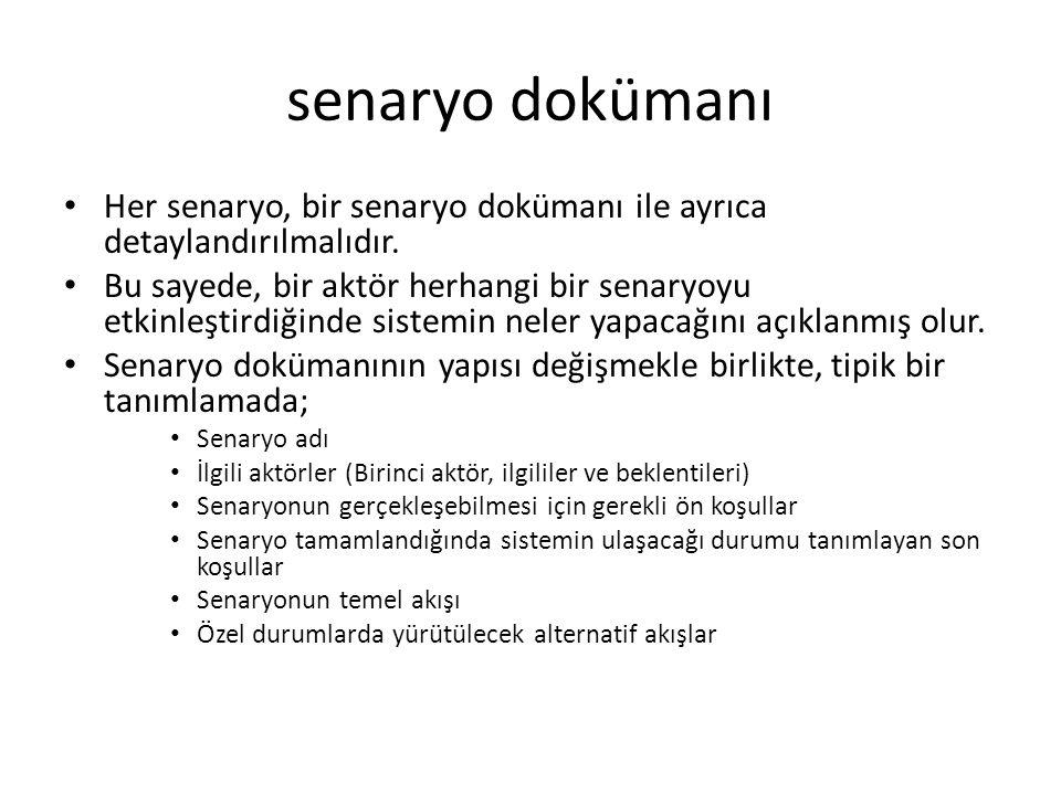 senaryo dokümanı Her senaryo, bir senaryo dokümanı ile ayrıca detaylandırılmalıdır.