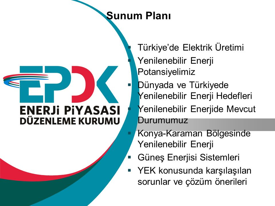 Sunum Planı Türkiye'de Elektrik Üretimi