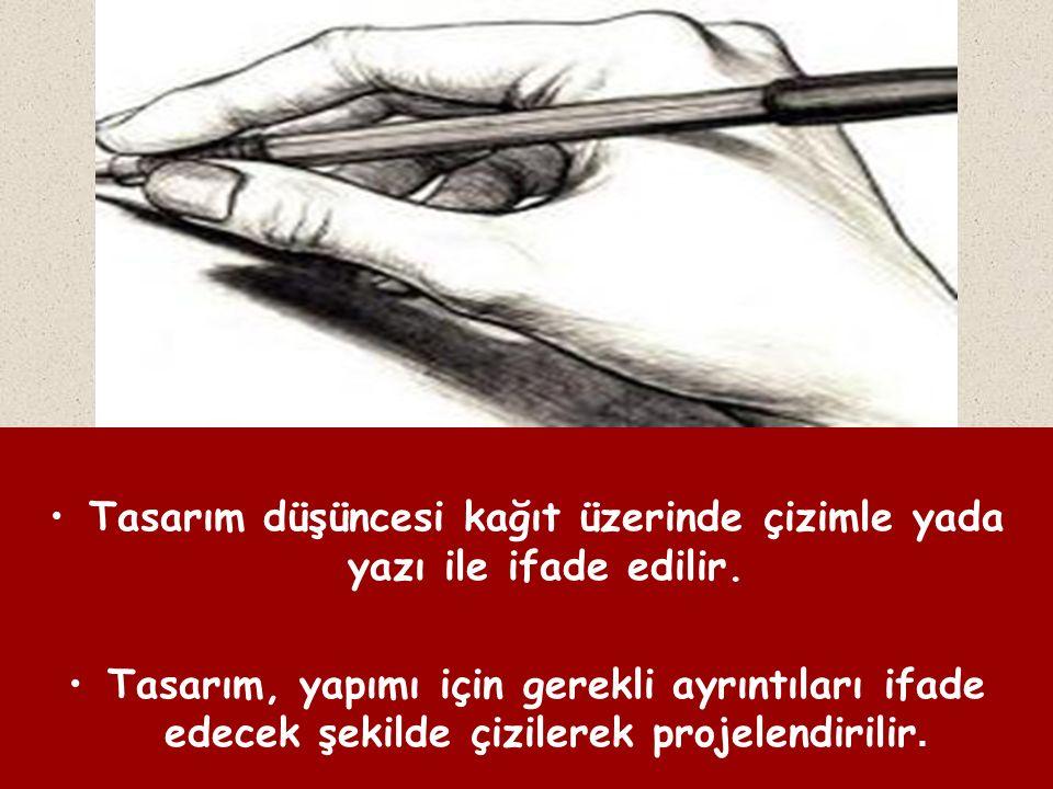 Tasarım düşüncesi kağıt üzerinde çizimle yada yazı ile ifade edilir.