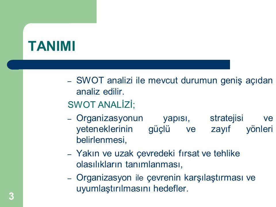 TANIMI SWOT analizi ile mevcut durumun geniş açıdan analiz edilir.