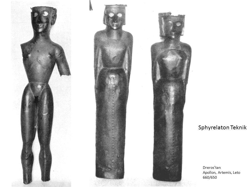 Sphyrelaton Teknik Dreros'tan Apollon, Artemis, Leto 660/650