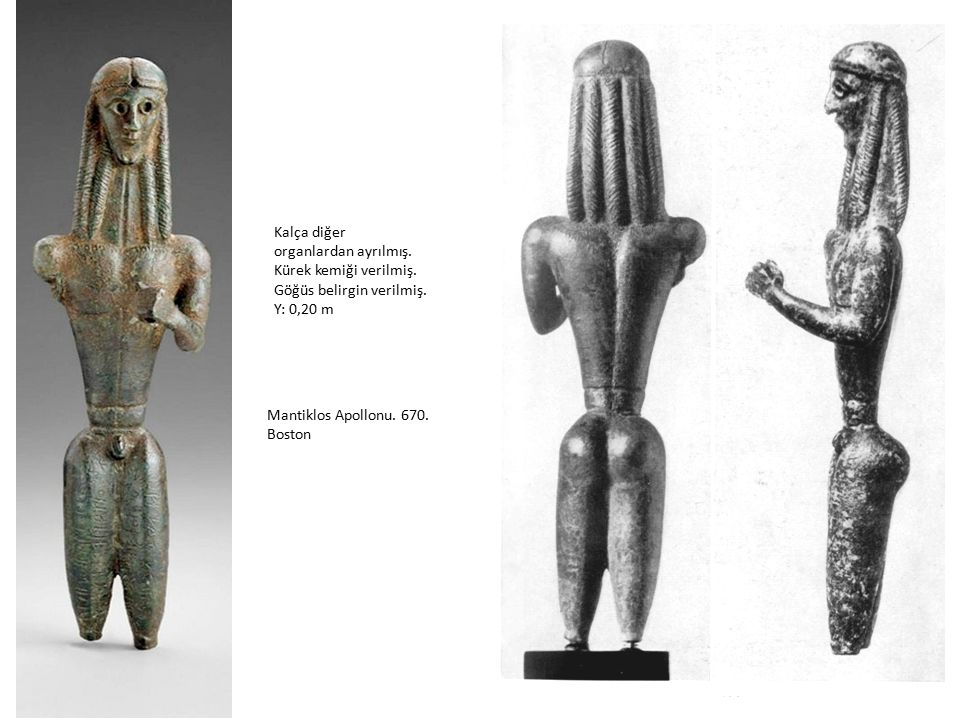 Kalça diğer organlardan ayrılmış. Kürek kemiği verilmiş. Göğüs belirgin verilmiş. Y: 0,20 m. Mantiklos Apollonu. 670.