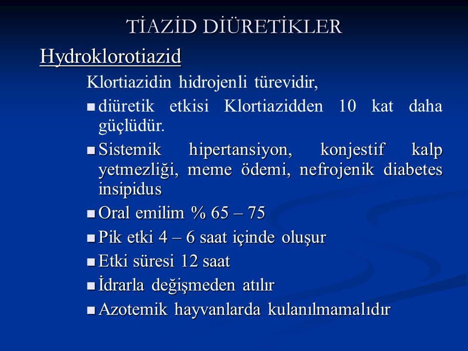 TİAZİD DİÜRETİKLER Hydroklorotiazid