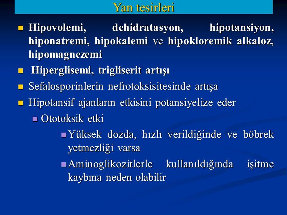 Yan tesirleri Hipovolemi, dehidratasyon, hipotansiyon, hiponatremi, hipokalemi ve hipokloremik alkaloz, hipomagnezemi.