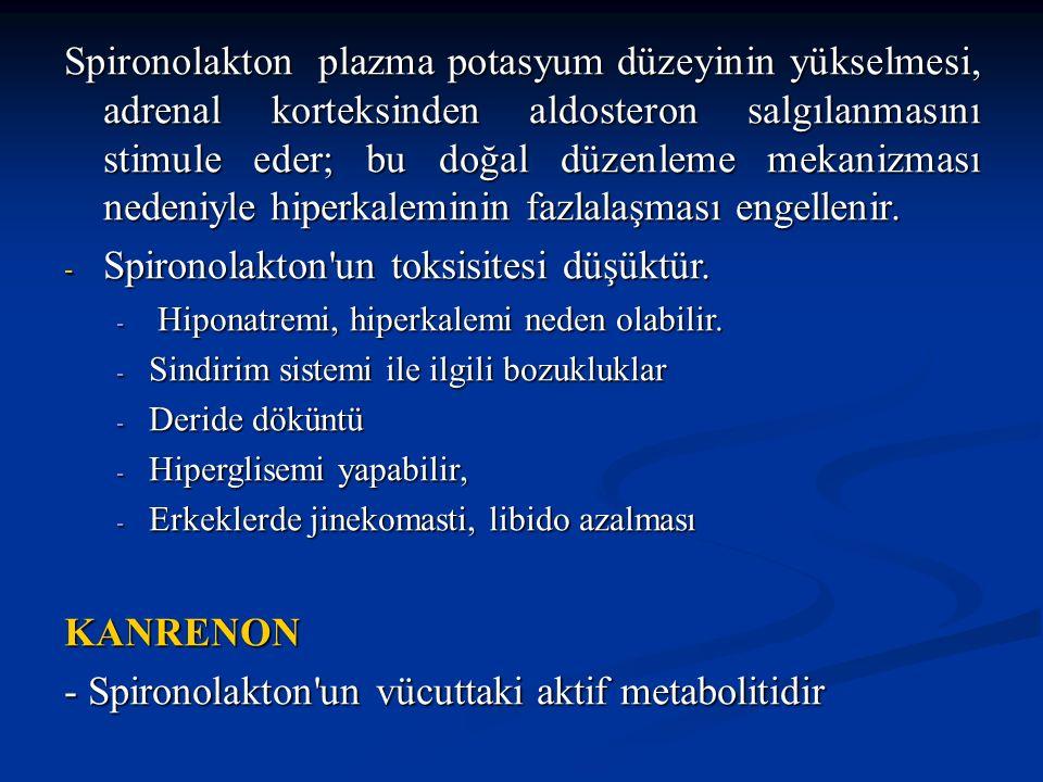 Spironolakton un toksisitesi düşüktür.