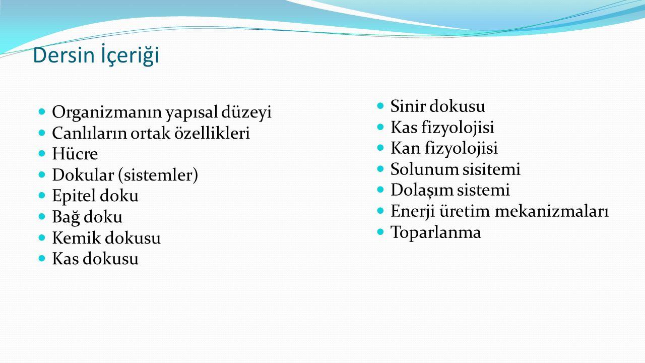 Dersin İçeriği Sinir dokusu Organizmanın yapısal düzeyi