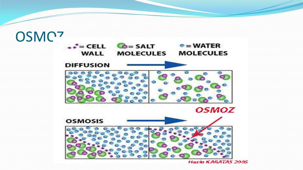 OSMOZ Difüzyon, Geçişme veya Yayılma olarak da bilinir, maddelerin çok yoğun ortamdan, az yoğun ortama doğru kendiliğinden yayılmasıdır.