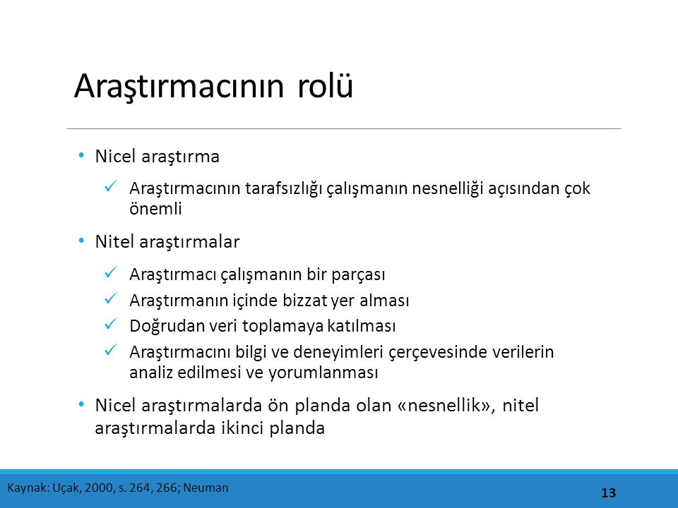 Araştırmacının rolü Nicel araştırma Nitel araştırmalar