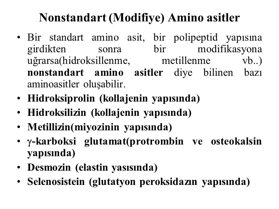 Nonstandart (Modifiye) Amino asitler