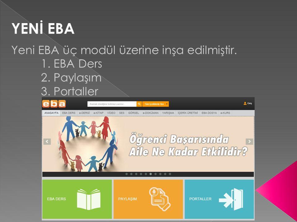 YENİ EBA Yeni EBA üç modül üzerine inşa edilmiştir. 1. EBA Ders