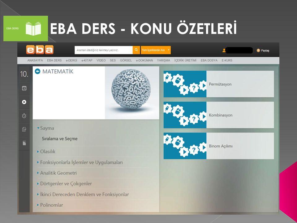 EBA DERS - KONU ÖZETLERİ