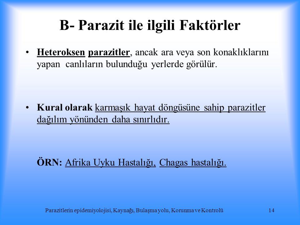 B- Parazit ile ilgili Faktörler