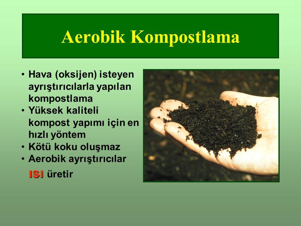 Aerobik Kompostlama Hava (oksijen) isteyen ayrıştırıcılarla yapılan kompostlama. Yüksek kaliteli kompost yapımı için en hızlı yöntem.