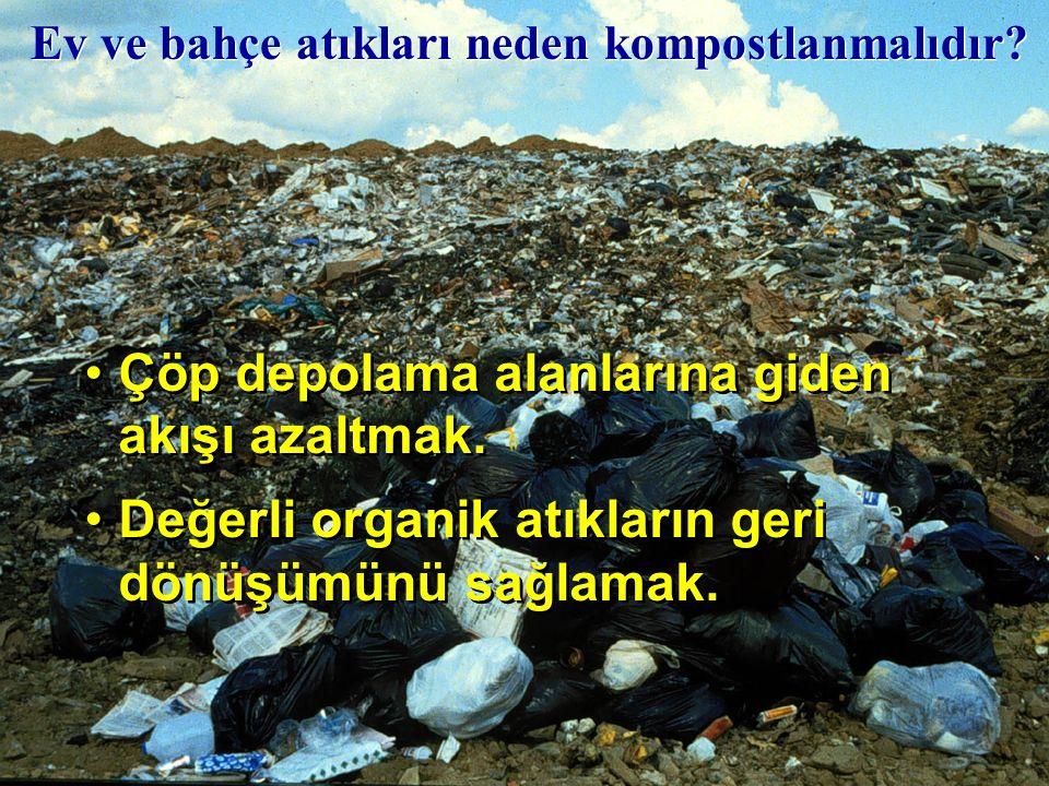 Çöp depolama alanlarına giden akışı azaltmak.