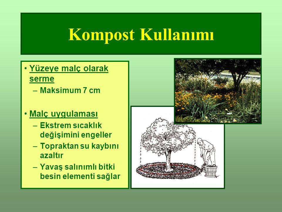 Kompost Kullanımı Yüzeye malç olarak serme Malç uygulaması