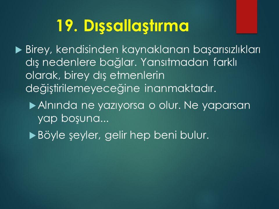 19. Dışsallaştırma