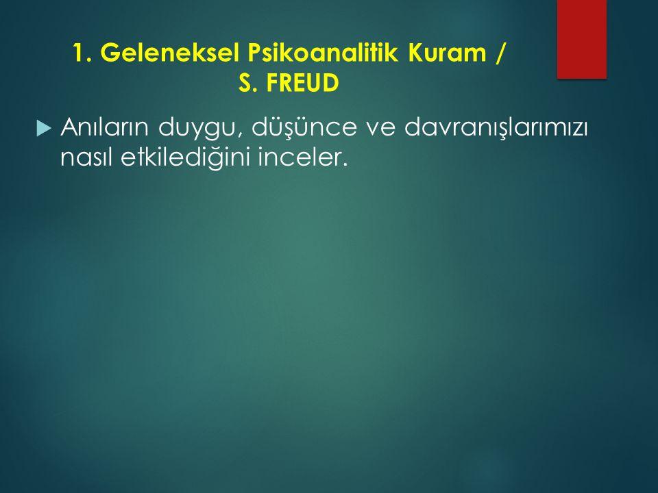 1. Geleneksel Psikoanalitik Kuram / S. FREUD