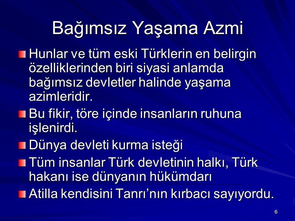 Bağımsız Yaşama Azmi Hunlar ve tüm eski Türklerin en belirgin özelliklerinden biri siyasi anlamda bağımsız devletler halinde yaşama azimleridir.