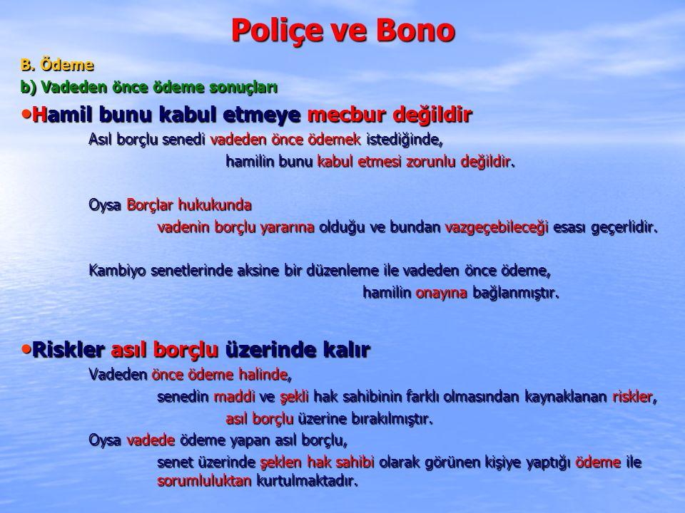 Poliçe ve Bono Hamil bunu kabul etmeye mecbur değildir