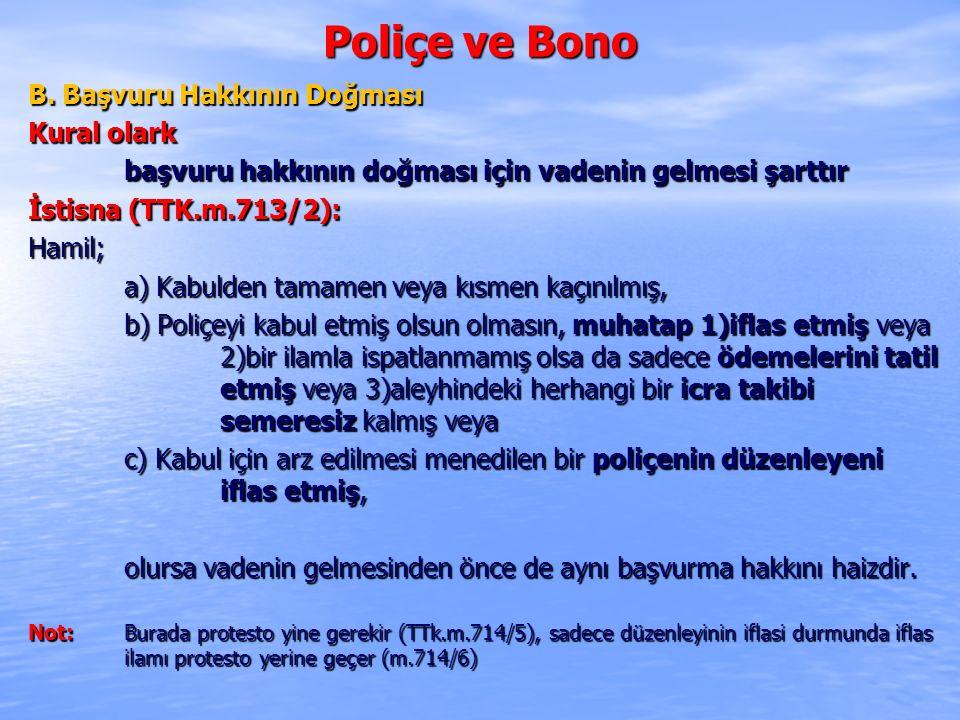Poliçe ve Bono B. Başvuru Hakkının Doğması Kural olark