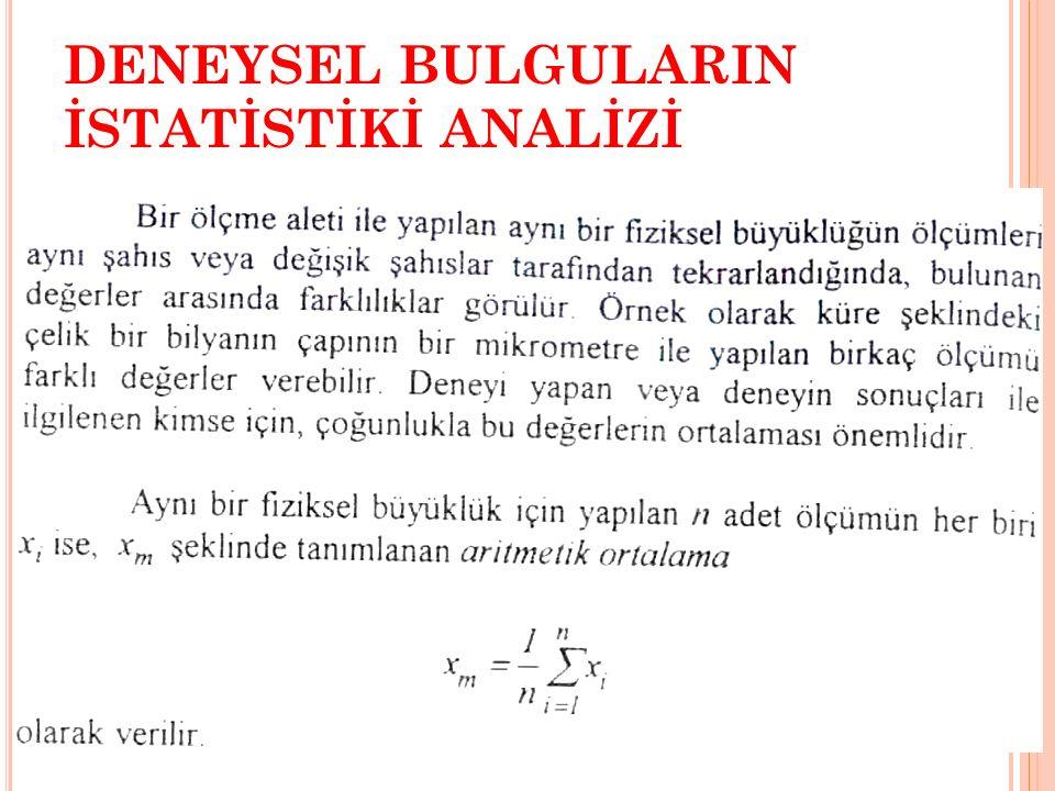 DENEYSEL BULGULARIN İSTATİSTİKİ ANALİZİ