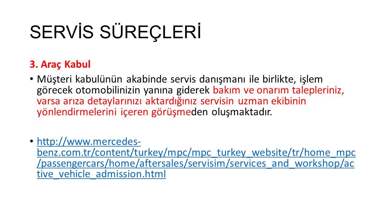 SERVİS SÜREÇLERİ 3. Araç Kabul