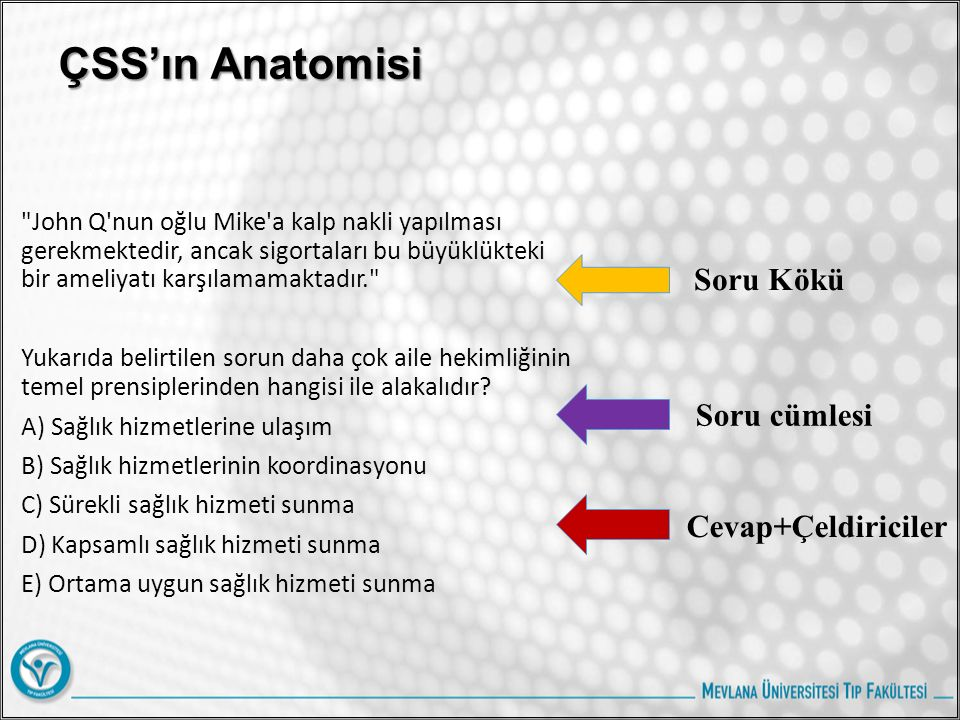 ÇSS'ın Anatomisi Soru Kökü Soru cümlesi Cevap+Çeldiriciler