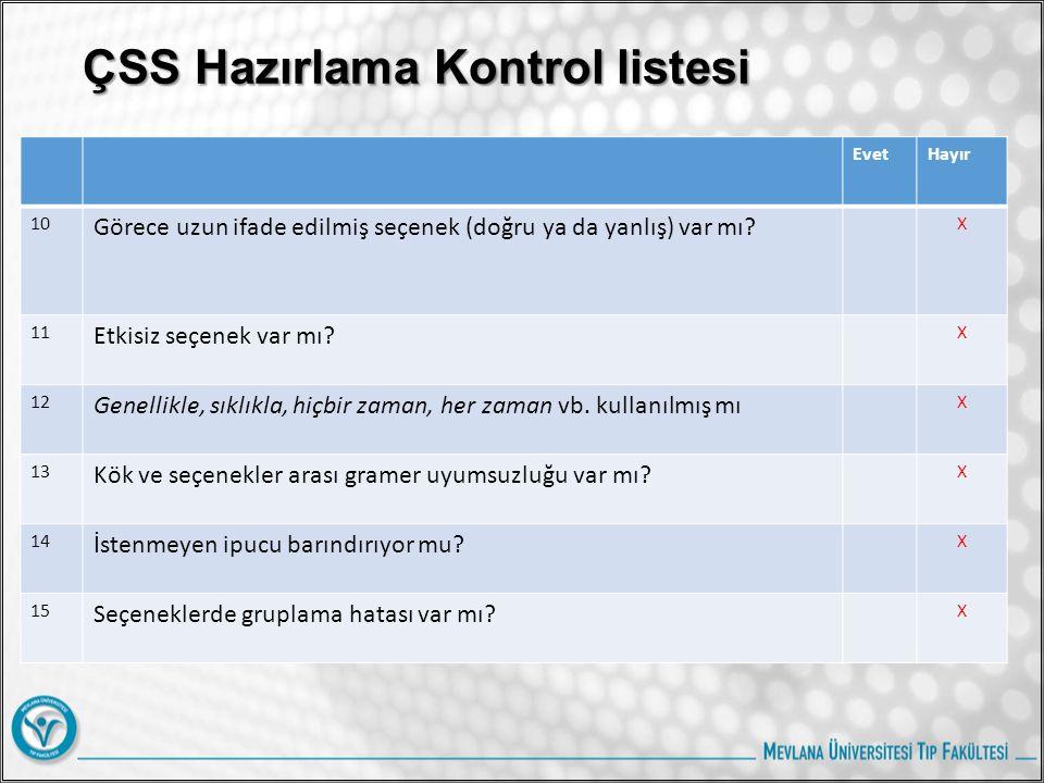 ÇSS Hazırlama Kontrol listesi