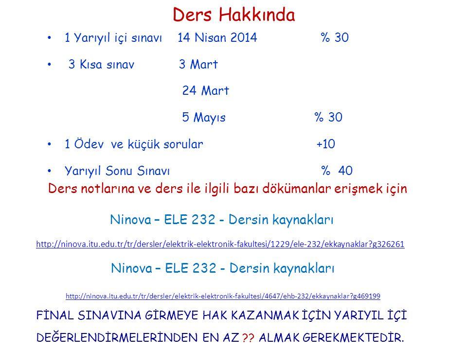 Ders Hakkında 1 Yarıyıl içi sınavı 14 Nisan 2014 % 30. 3 Kısa sınav 3 Mart.